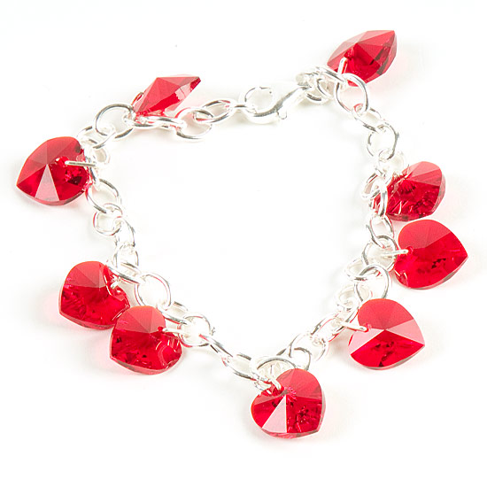 Bracelet With Hearts: Swarovski Crystal Heart Charm Bracelet